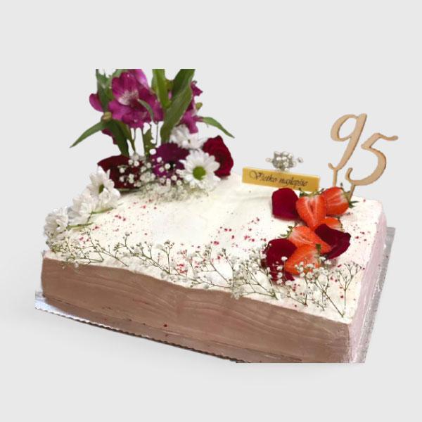 Torta kniha živé kvety